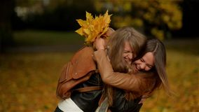Two Beautiful Teenage Girls Hugging and Holding a Bouquet of Yellow Leaves in the Autumn Park, Girlfriends Having Fun in. Outdoor HD stock video footage