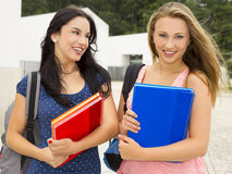 Two beautiful teenage students Royalty Free Stock Images