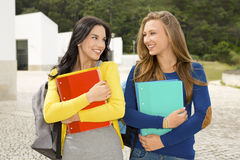 Two beautiful teenage students Royalty Free Stock Photos