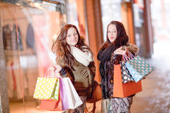 Beautiful young woman shoppers stock photos