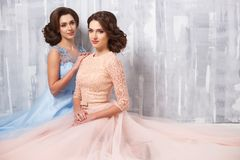 Two beautiful twins young women in luxury dresses, pastel colors. Beauty fashion portrait stock photo