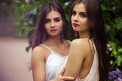 Two beautiful twins young women in summer dresses near blooming lilac. Fashion beauty portrait Royalty Free Stock Photo
