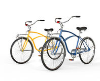 Two Beautiful Vintage Bicycles. Isolated on white background Stock Images