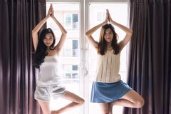 Two beautiful waked up roommate girls stretch body by yoga exercise near window during sunrise in early morning Stock Images