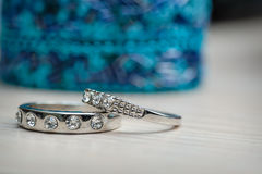 Two beautiful wedding rings made of white gold Stock Images