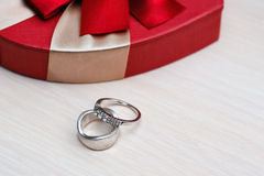 Two beautiful wedding rings on the table Stock Images