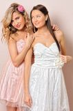 Two beautiful woman in chic dresses. Royalty Free Stock Images