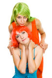 Two beautiful woman with color hair Stock Photography