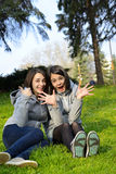 Two beautiful woman expressing excitement in a park. Two beautiful young women expressing positivity, agreement and excitement in a park Stock Image