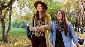 Two beautiful woman friends walking through the park and laughting. Two beautiful woman friends shopping walking through city urban social consumer lifestyle stock footage