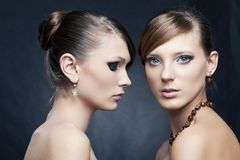 Two beautiful woman with jewelry Stock Photo