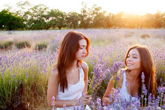 Two beautiful woman on lavender field Stock Image