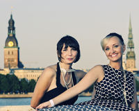 Two beautiful woman outdoors Stock Photography