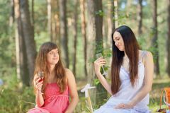 Two beautiful woman at picnic in forest Royalty Free Stock Photo