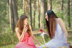 Two beautiful woman at picnic in forest Stock Images