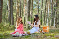 Two beautiful woman at picnic Royalty Free Stock Photo