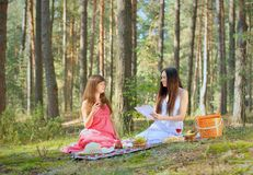 Two beautiful woman at picnic Royalty Free Stock Image