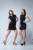 Two beautiful woman posing in dresses Royalty Free Stock Images