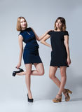 Two beautiful woman posing in dresses Stock Image