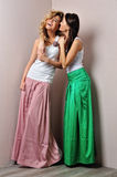Two beautiful woman posing in a fancy dresses Royalty Free Stock Image