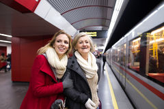 Free Two Beautiful Women At The Underground Platform, Travelling Stock Photo - 85835680