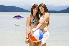 Two beautiful women in bikinis Royalty Free Stock Photography