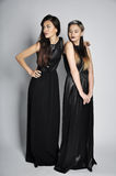 Two beautiful women in a black dresses Royalty Free Stock Photos