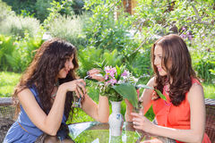 Two beautiful women at cafe Royalty Free Stock Photo
