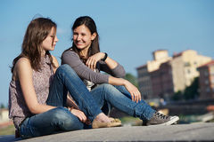 Two Beautiful Women in the City Royalty Free Stock Image