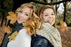 Two beautiful women with dry leaves in the teeth by autumn. Stock Photography