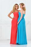 Two beautiful women in evening dresses Royalty Free Stock Photography