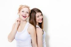 Two beautiful women girlfriends portrait Stock Image