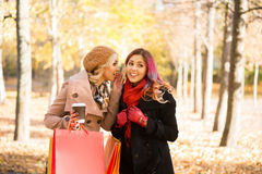 Two beautiful women having a relaxing conversation with coffee Royalty Free Stock Photo