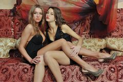 Free Two Beautiful Women In Luxury Interior. Royalty Free Stock Image - 25497656