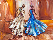 Two beautiful women. Oil painting. Two beautiful women at the ball. Oil painting Stock Photos