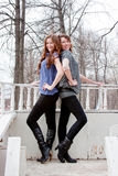 Two  beautiful women in a park Stock Images
