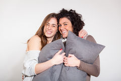 Two Beautiful Women with Pillow Royalty Free Stock Photo