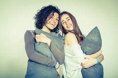 Two Beautiful Women with Pillow Royalty Free Stock Photos