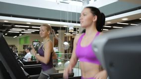 Two beautiful women run on a treadmill and talk in spacious gym. Friends spend time in sports club during cardio-loading and bringing the body in good shape stock video footage