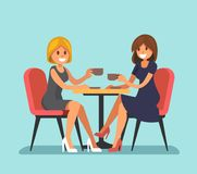 Two beautiful women sitting in a cafe. Vector flat style Royalty Free Stock Image