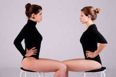 Free Two Beautiful Women, Sitting On A Bench Royalty Free Stock Photography - 19750537