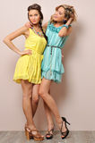 Two beautiful women in summer dresses. Royalty Free Stock Images