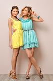 Two beautiful women in summer dresses. Royalty Free Stock Photos