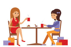 Two beautiful women talking at coffee shop while drinking. Two beautiful friends women talking friendly at coffee shop while drinking hot coffee, vector Stock Photography