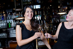 Two beautiful women toasting each other Royalty Free Stock Image