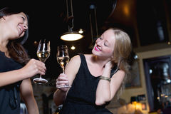 Two beautiful women toasting each other Royalty Free Stock Images