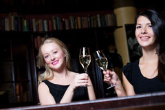 Two beautiful women toasting each other Royalty Free Stock Photo