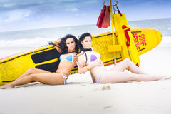 Two Beautiful Women Together On Beach Stock Photos