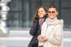 Two Beautiful Women On urban background Royalty Free Stock Images