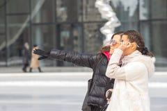 Two Beautiful Women On urban background Stock Photography